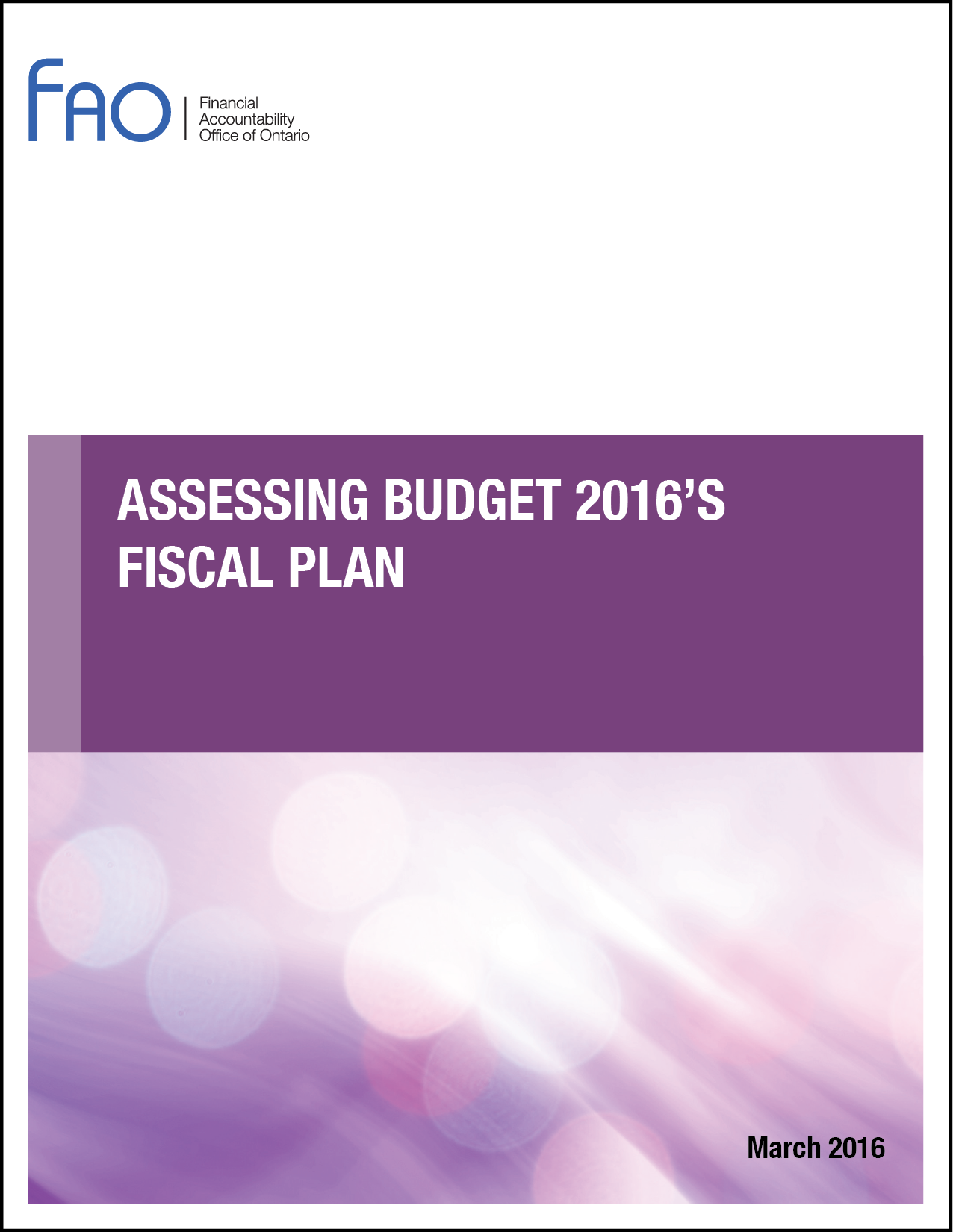 Assessing Budget 2016's Fiscal Plan