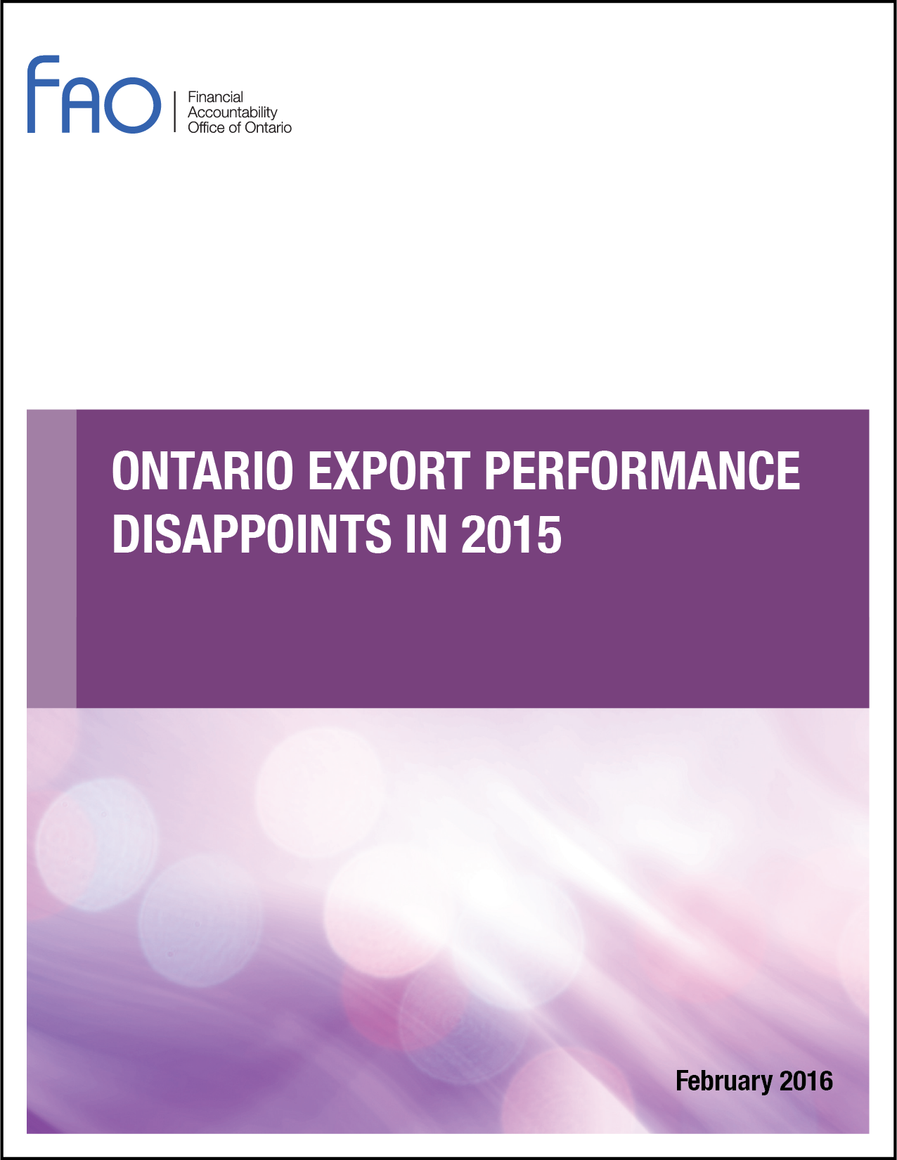 Ontario Export Performance Disappoints in 2015