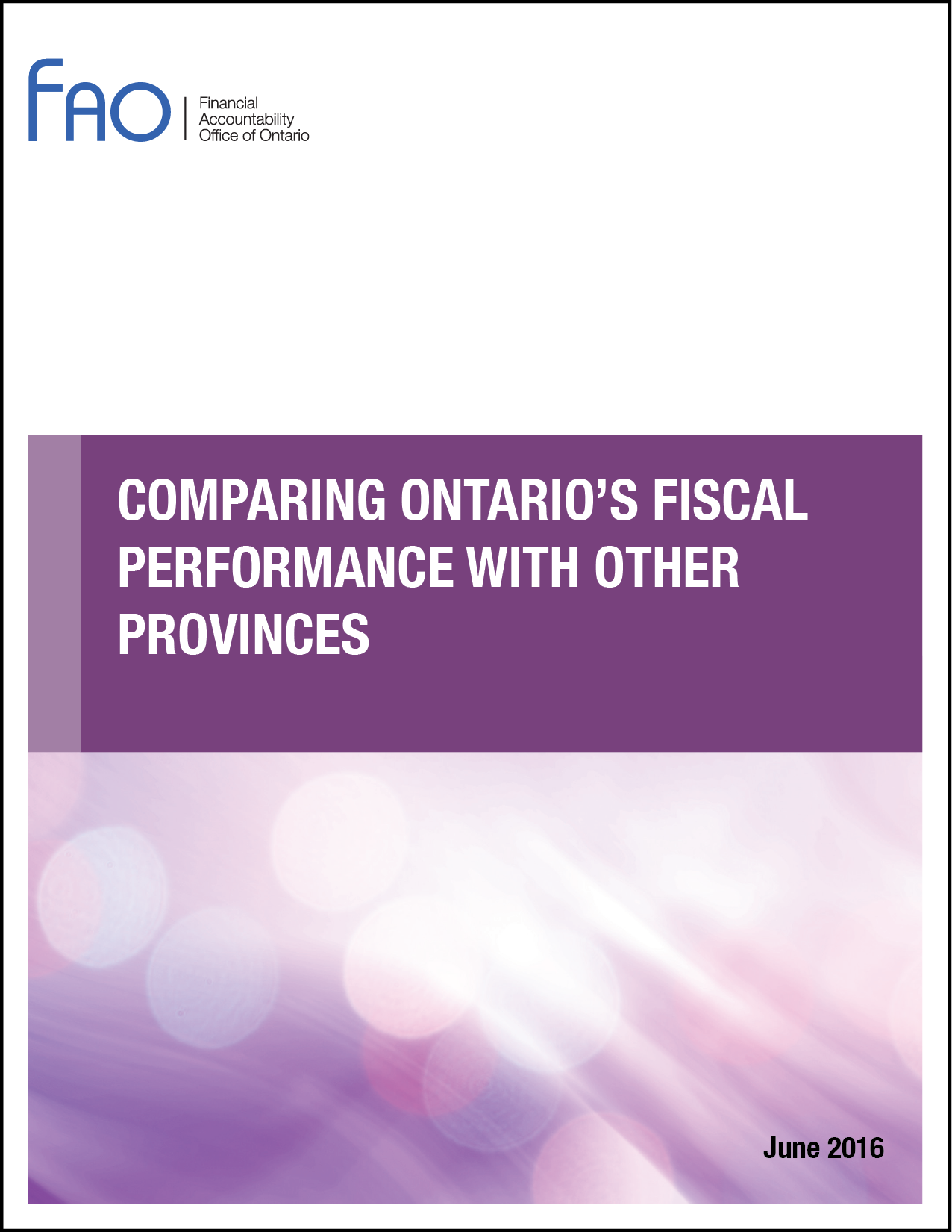Comparing Ontario's Fiscal Performance with Other Provinces