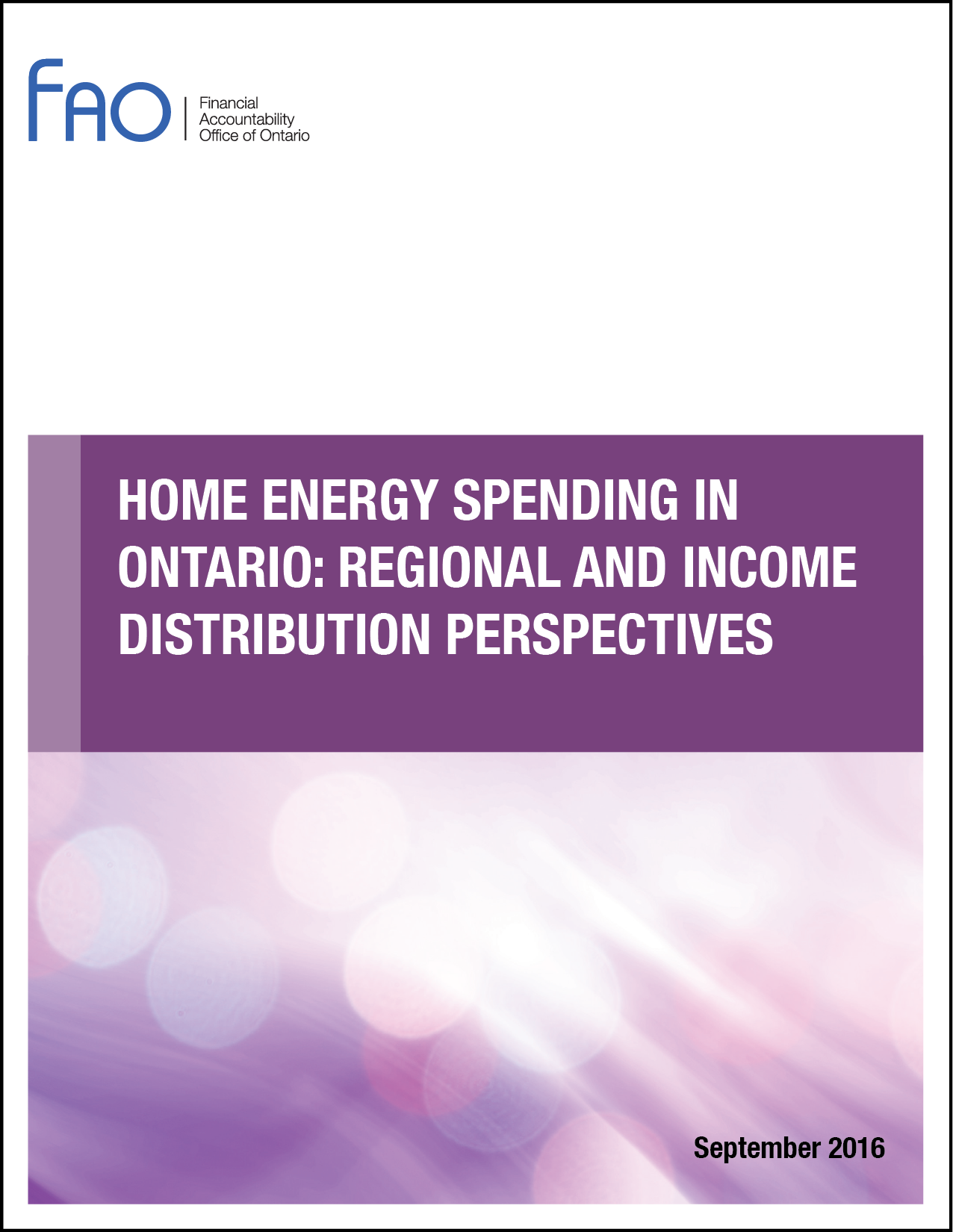 Home Energy Spending in Ontario: Regional and Income Distribution Perspectives
