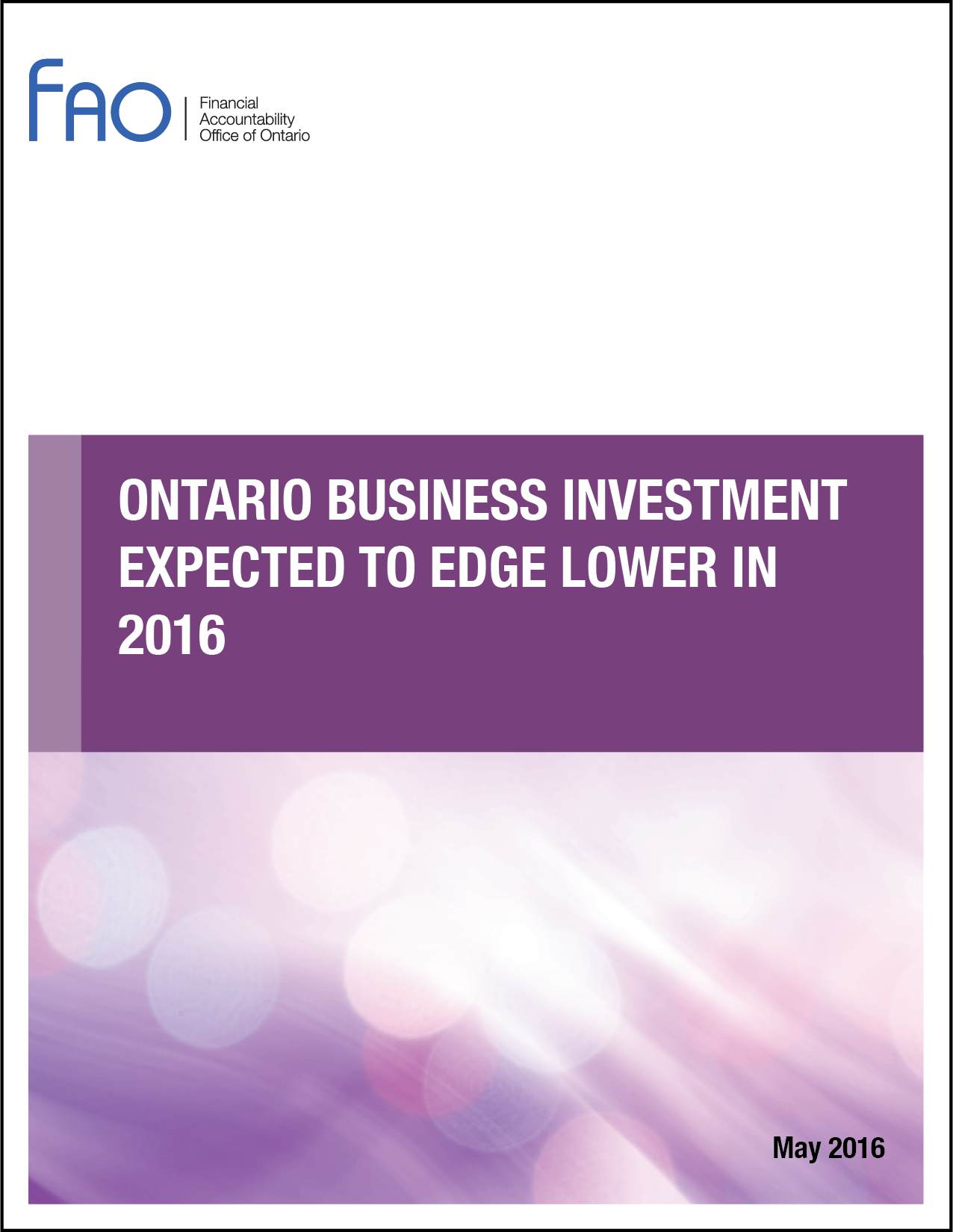 Ontario Business Investment Expected to Edge Lower in 2016