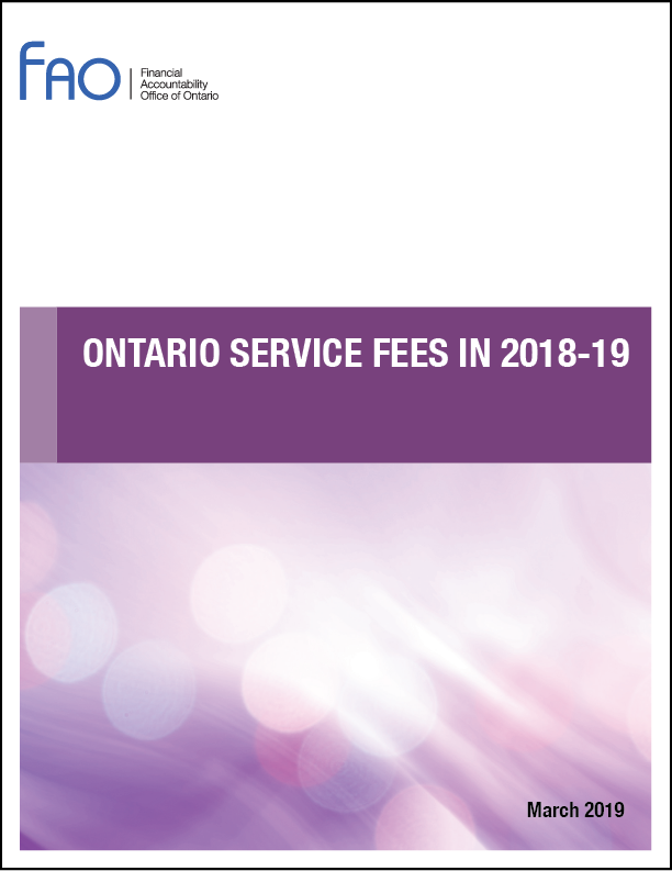 Ontario Service Fees in 2018-19