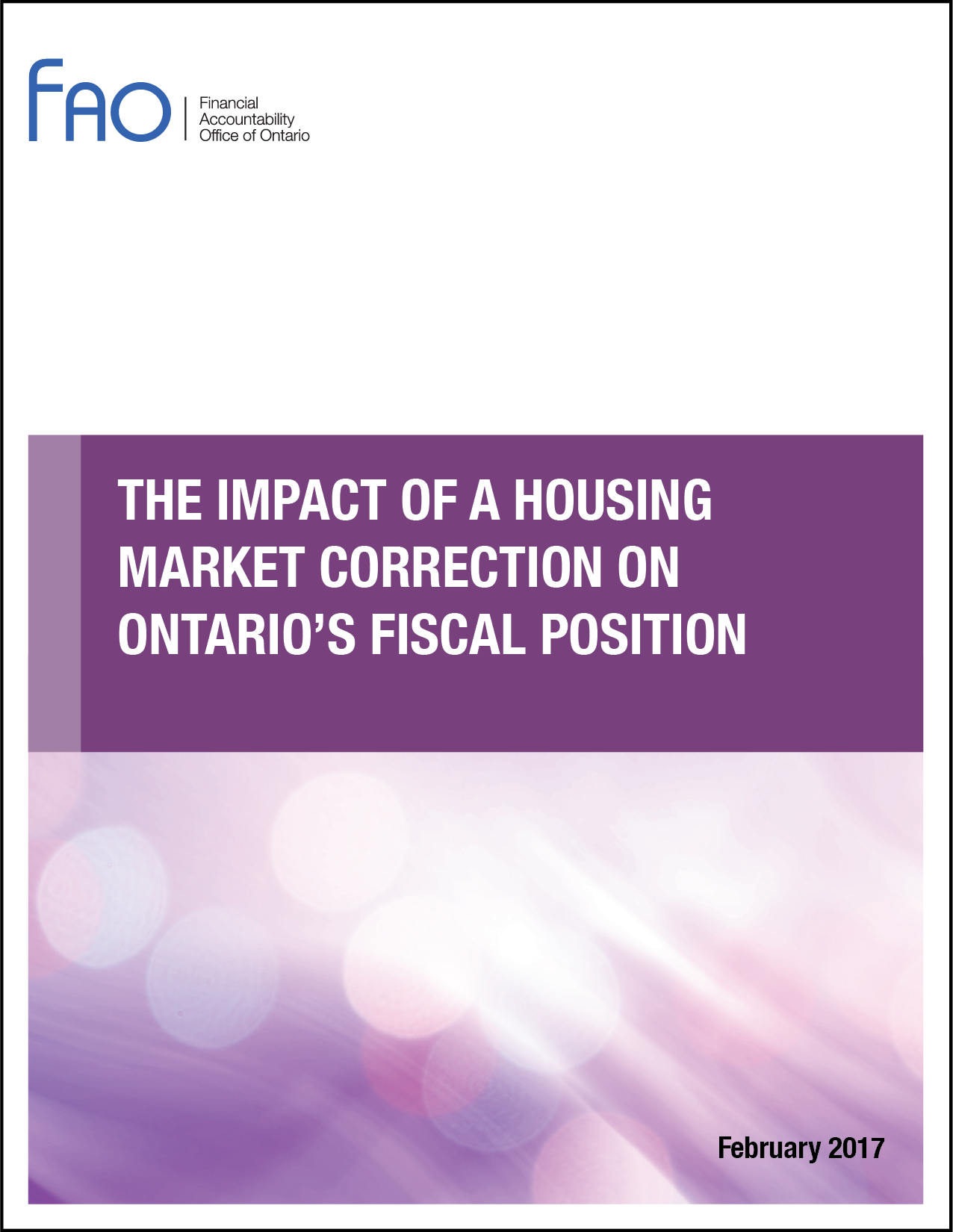 The Impact of a Housing Market Correction on Ontario's Fiscal Position