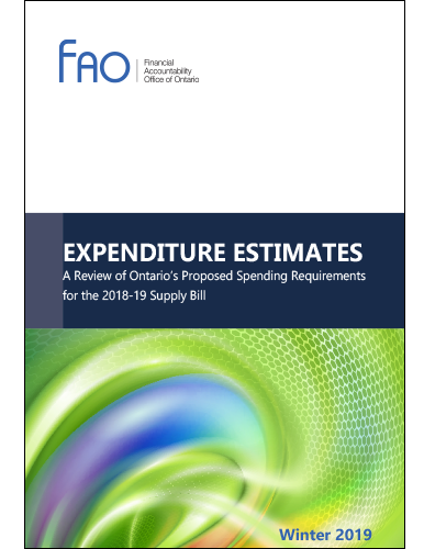 Expenditure Estimates: A Review of Ontario's Proposed Spending Requirements for the 2018-19 Supply Bill