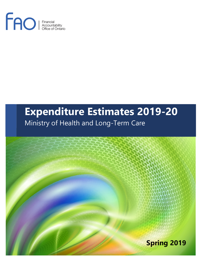 Expenditure Estimate 2019-20: Ministry of Health and Long-Term Care